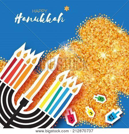 Colorful Origami Happy Hanukkah Greeting card on gold glitter background. Hanuka juish vector illustration. jewish menorah. Hanuka candles symbol.