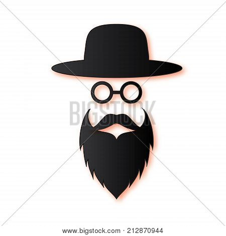 Jewish men in the traditional clothing. Ortodox Jew hat, mustache, glasses and beard. Man concept. Israel people. Black Paper cut style. Vector illustration.