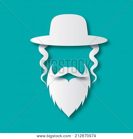 Origami Jewish men in the traditional clothing. Ortodox Jew hat, mustache, sidelocks and beard. Man concept. Israel people. White Paper cut style. Vector illustrator