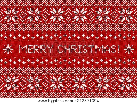Merry Christmas greeting card with knitted background. Red and white seamless sweater pattern with traditional scandinavian ornament. Vector illustration.