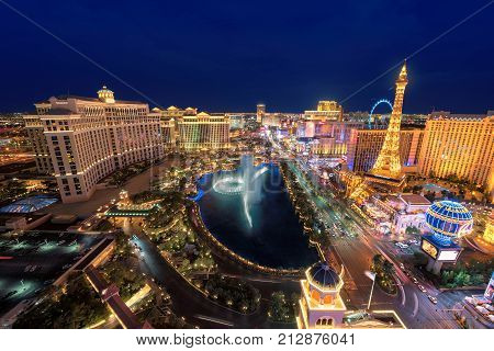 Las Vegas Strip skyline at night on July 25, 2017 in Las Vegas, Nevada. The Strip is home to the largest hotels and casinos in the world.