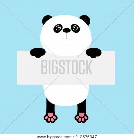 Funny panda bear hanging on paper board template. Kawaii animal body with pawprint. Cute cartoon character. Baby card. Flat design style. Blue background Isolated. Vector illustration