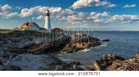 Panorama of Portland Head Lighthouse in Cape Elizabeth, Maine, USA. One Of The Most Iconic And Beautiful Lighthouses.