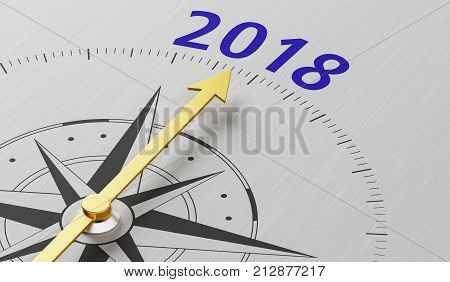Compass Needle Pointing To The Text 2018