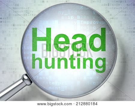 Finance concept: magnifying optical glass with words Head Hunting on digital background, 3D rendering