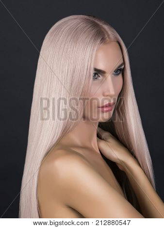 Doll Looking Model Long Cold Pink Smoothy Hair Posing In Studio Nacked