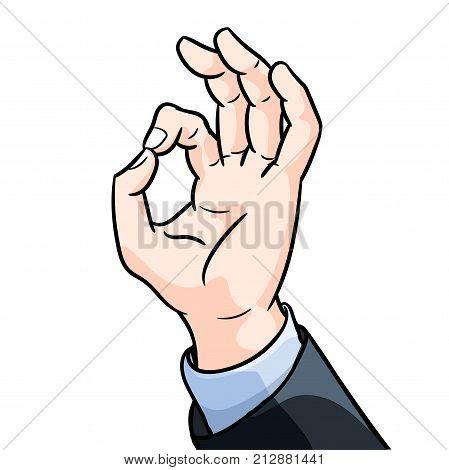 Illustration Businessman hand gesture okey Hand showing OK gesture Flat style vector illustration isolated on white background.