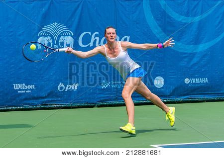 BANGKOK OCTOBER 21 : Emma Flood of Norway action in CHANG ITF PRO CIRCUIT 2015 at Rama Gardens Hotel on October 21 2015 in Bangkok Thailand. she loss in this match