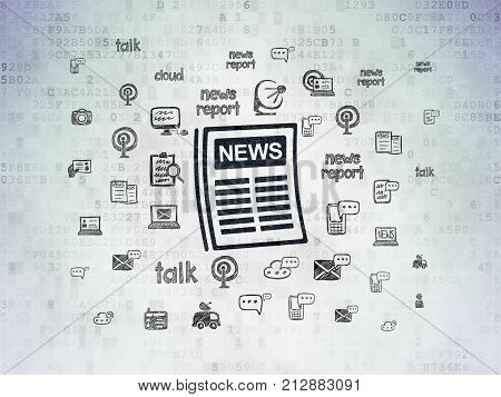 News concept: Painted black Newspaper icon on Digital Data Paper background with  Hand Drawn News Icons