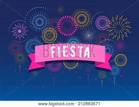 Fiesta, Fireworks and celebration background, winner, victory poster, banner