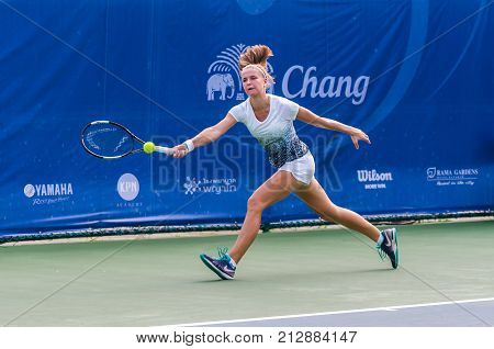 BANGKOK OCTOBER 21 : Karolina Muchova of Czech republic action in CHANG ITF PRO CIRCUIT 2015 at Rama Gardens Hotel on October 21 2015 in Bangkok Thailand. she won in this match