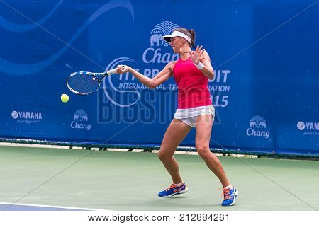 BANGKOK OCTOBER 21 : Valeriya Strakhova of UKraine action in CHANG ITF PRO CIRCUIT 2015 at Rama Gardens Hotel on October 21 2015 in Bangkok Thailand. she loss in this match