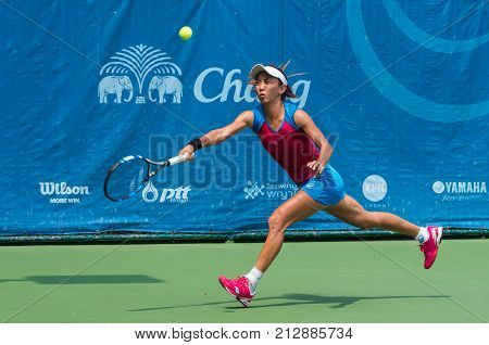 BANGKOK OCTOBER 21 : Jia-Jing Lu of China action in CHANG ITF PRO CIRCUIT 2015 at Rama Gardens Hotel on October 21 2015 in Bangkok Thailand. she won in this match