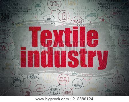 Manufacuring concept: Painted red text Textile Industry on Digital Data Paper background with  Scheme Of Hand Drawn Industry Icons