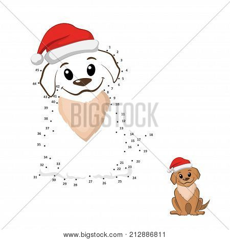 Dot to dot game. Connect puzzle. Funny puppy in christmas hat. Brown dog in cartoon style. Vector illustration