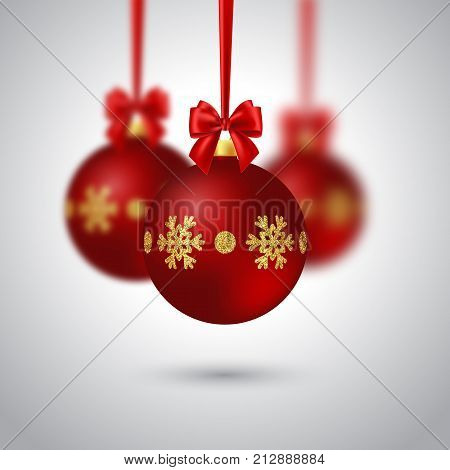 Realistic Christmas bauble with red bow. Blur effect. Decorative elements for Christmas holiday background. Vector illustration.