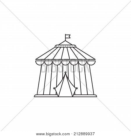 . Circus icon vector linear design isolated on white background. Park logo template, element for amusement park, line icon object.
