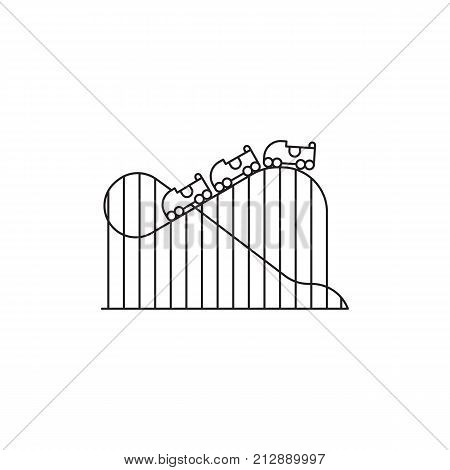 Roller coaster icon vector linear design isolated on white background. Park logo template, element for amusement park, line icon object.
