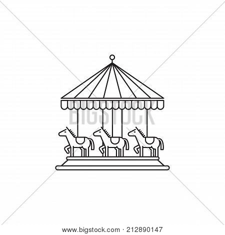 Carousel icon vector linear design isolated on white background. Park logo template, element for amusement park, line icon object.