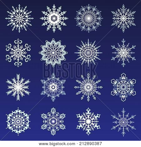 Separate Snowflakes Doodles Icon White Vector Rustic Christmas Clipart New Year Snow Crystal Illustr