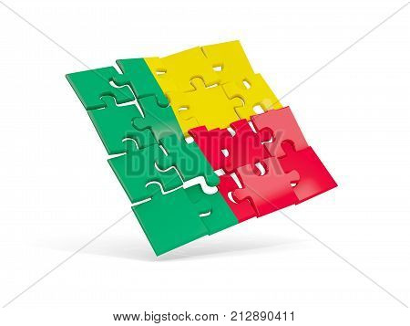 Puzzle Flag Of Benin Isolated On White