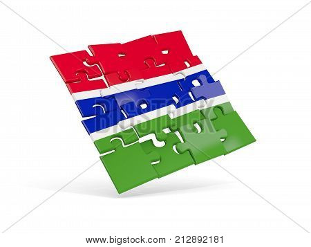 Puzzle Flag Of Gambia Isolated On White
