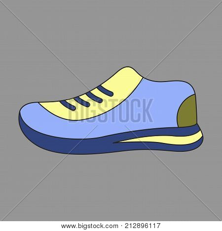Icon in flat design sports shoes balance equipment