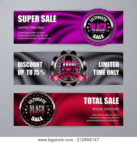 Set of Black friday banners, labels on drapery textile background for design, promotion, poster, flyer, web, card, invitation. Holiday sticker, badge with discount, super sale. Illustration EPS 10