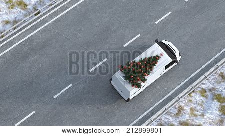 Christmas tree on delivery van as christmas transportation concept (3D Rendering)