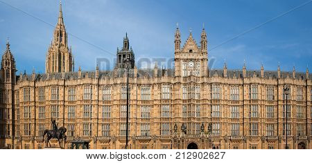 Houses of Parliament, London, England, panoramic view of political centre in London