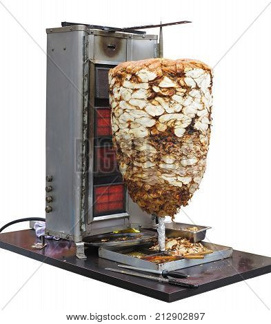 Preparation Machine Of Traditional Greek Dish Gyros Or Turkish Durum Doner Kebab Isolated Over White