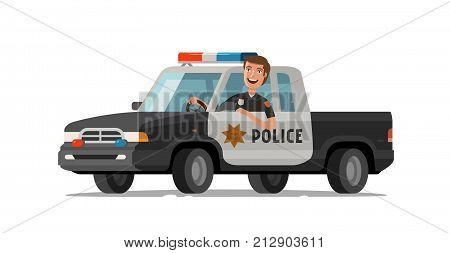 Happy sheriff rides in car. Police pickup truck. Cartoon vector illustration isolated on white background poster