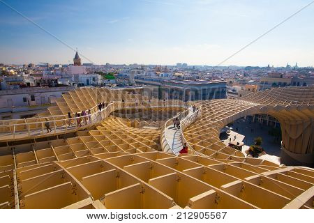 Seville Spain - November 19 2016: Metropol Parasol is the modern architecture on Plaza de la Encarnacion.It was designed by the German architect Jurgen Mayer-Hermann.