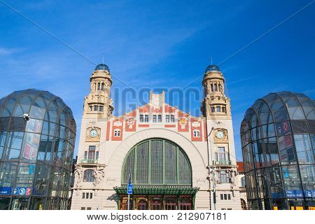 Prague Czech Republic - May 10 2017: Prague central train station. It is the largest and most important railway station. It was originally opened in 1871 and named Franz Josef Station after Franz Joseph I of Austria.