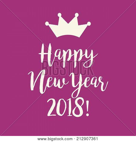 Purple Pink Happy New Year 2018 Greeting Card
