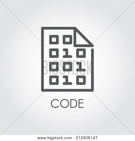 Code linear icon. Programming panel software. Technology authorization logo. Abstract pin sign for credit cards, mobile devices, automatic teller machines. Outline pictogram. Vector contour label