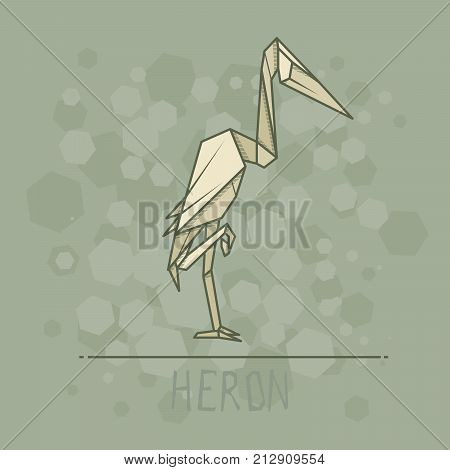Vector simple illustration paper origami of heron.
