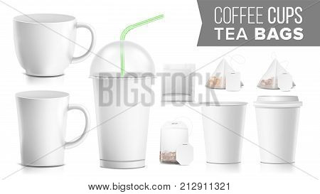 Take-out Various Ocher Paper Cups, Tea Bags Mock Up Vector. Plastic And Ceramic. Big Small Coffee Cup. Cola, Soft Drinks Cup Template. Tube Straw. 3D Cardboard Object. Isolated Illustration