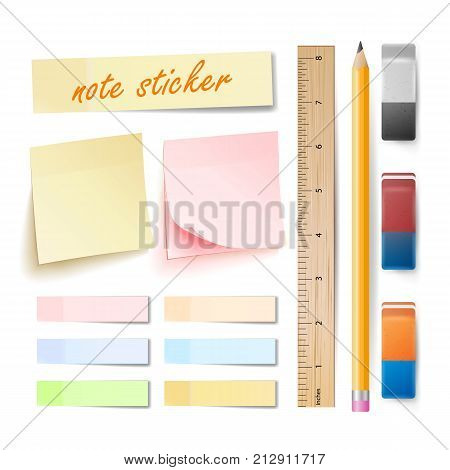 Post Note Sticker Vector. Isolated Set. Memory Pads Colorful. Office Color Post Sticks. Eraser, Pencil, Measuring Ruler. Realistic