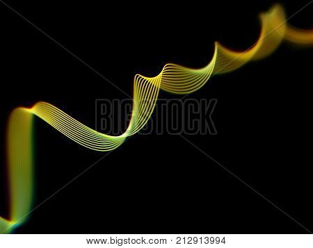Information technology or big data concept: abstract glowing curves. Sound waves, business charts, network or data flow. Digital ribbon on dark background. 3D sound waves, EPS 10 vector illustration.
