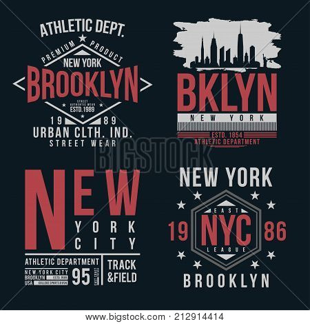 New York Brooklyn typography for t-shirt print. Vintage badge set for t shirt print. Varsity style shirt design collection. Vector