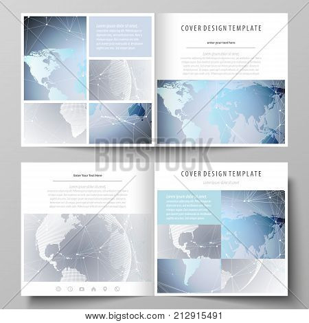 The minimalistic vector illustration of the editable layout of two covers templates for square design brochure, flyer, booklet. Technology concept. Molecule structure, connecting background
