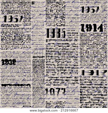 Seamless background pattern. Imitation of grunge retro halftone newspaper, unreadable.