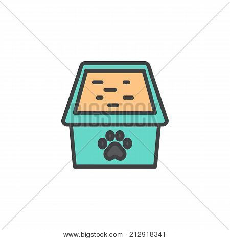 Cat box filled outline icon, line vector sign, linear colorful pictogram isolated on white. Litter box, pet sandbox symbol, logo illustration. Pixel perfect vector graphics