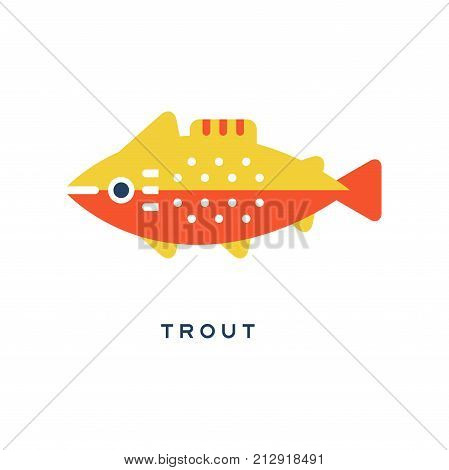 Trout, freshwater fish geometric flat style design vector Illustration on a white background