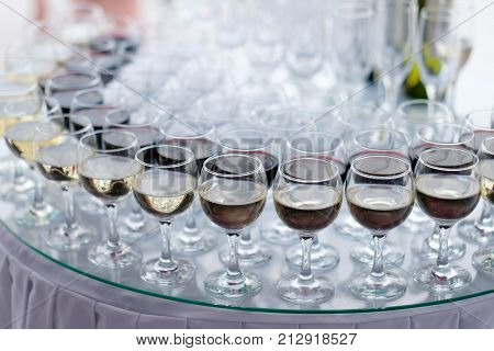 Close up of pouring in aperitif at an outdoor bar