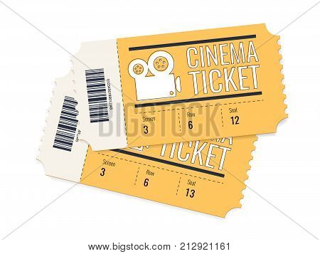 Two cinema vector tickets isolated on white background. Realistic front view illustration. Cinema Ticket Card modern element design. Creative concept: pair of cinema admit one made of yellow paper
