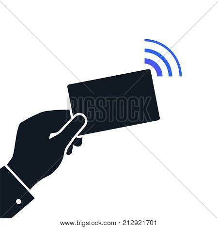 Near-field communication NFC concept icon. Technology for contactless payment. Payments and near field communication. Online payment concept isolated on white background. Vector icon illustration
