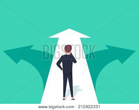 Choice way concept. Decision business metaphor. Vector flat style design. Isolated on background. Businessman before choosing. Crossroads arrows. Decide direction. Human standing choice of ways. poster