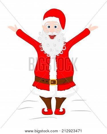 Crazy Santa Claus shows his tongue and raised hands. Vector illustratin